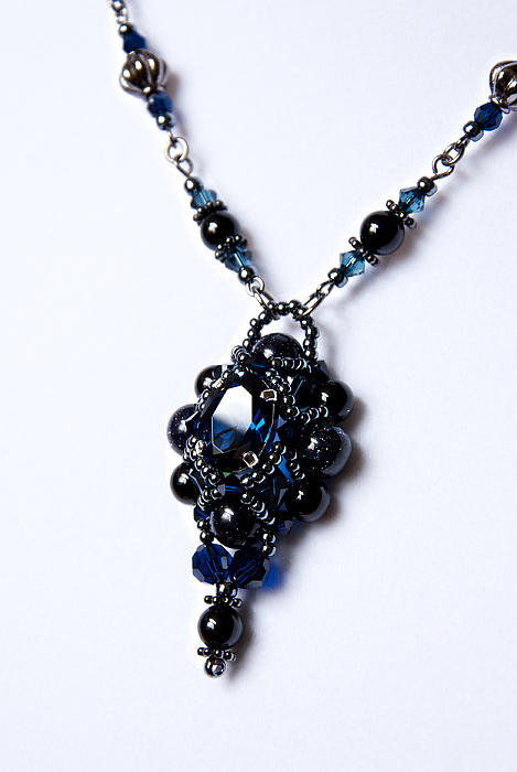 Regal Sapphire Pendant Necklace And Matching Earrings Set Print by WDM Gallery