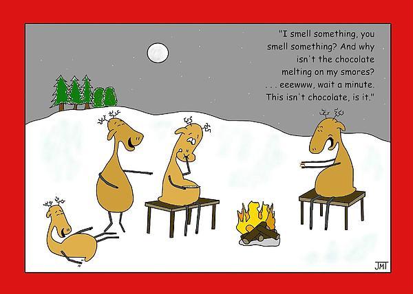Reindeer Smores Christmas Card Print by Manly Thweatt