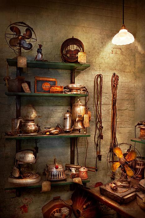 Repair - In The Corner Of A Repair Shop Print by Mike Savad