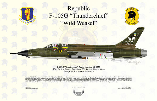 Republic F-105g Thunderchief 561tfs Print by Arthur Eggers