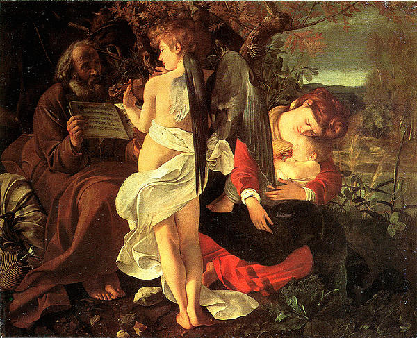 Rest On The Flight Into Egypt Print by Caravaggio