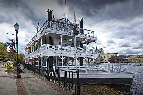 Retired Show Boat The Robert E. Lee In Lowell Print by Randall Nyhof