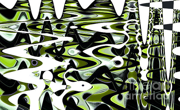 Retro Waves Abstract - Lime Green Print by Natalie Kinnear
