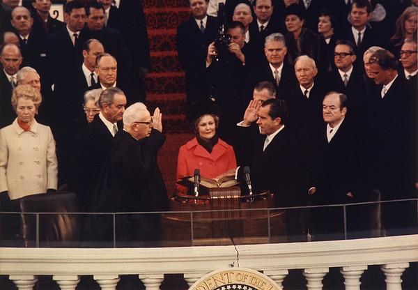 Richard Nixon Taking The Oath Of Office Print by Everett