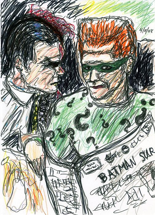 Riddler And Two-face Print by Rachel Scott