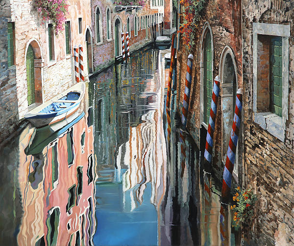 Riflessi Colorati A Venezia Print by Guido Borelli