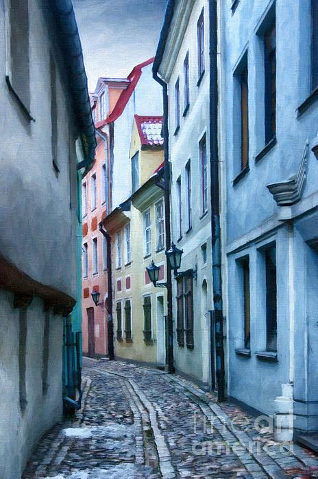 Riga Narrow Street Painting Print by Antony McAulay