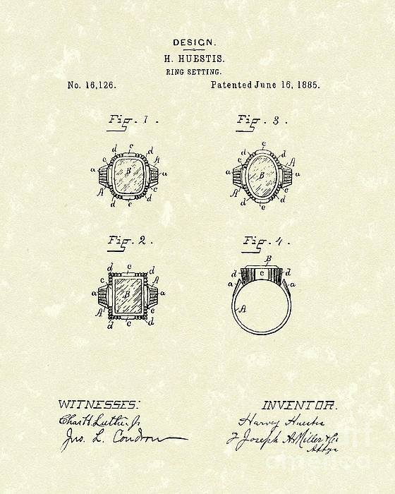 Ring Setting 1885 Patent Art Print by Prior Art Design