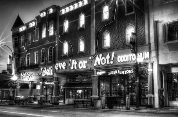 Ripley's Of Gatlinburg In Black And White Print by Greg and Chrystal Mimbs