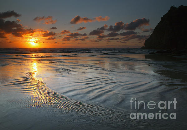 Ripples On The Beach Print by Mike  Dawson