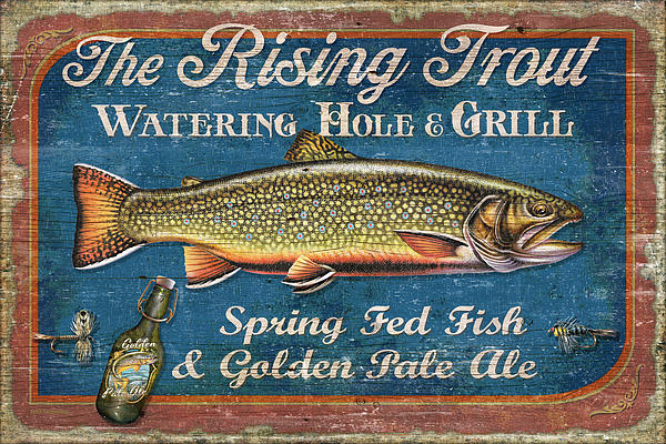 Rising Trout Sign Print by JQ Licensing
