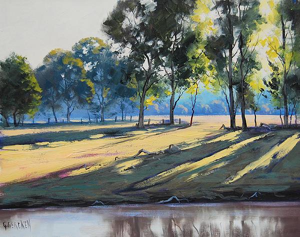 River Bank Shadows Tumut Print by Graham Gercken