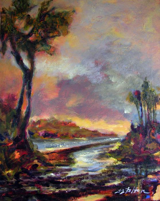 River Dusk Print by Julianne Felton