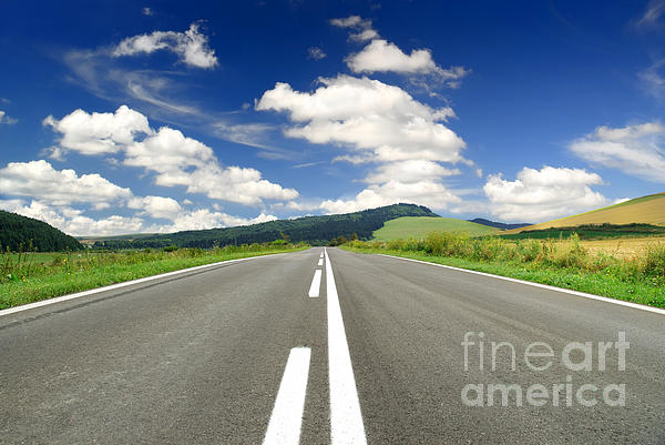 Road And Beautiful Sky Print by Boon Mee