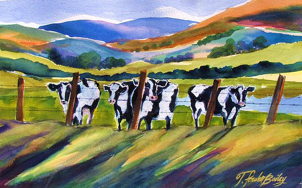 Roadside Cows Near San Luis Print by Therese Fowler-Bailey