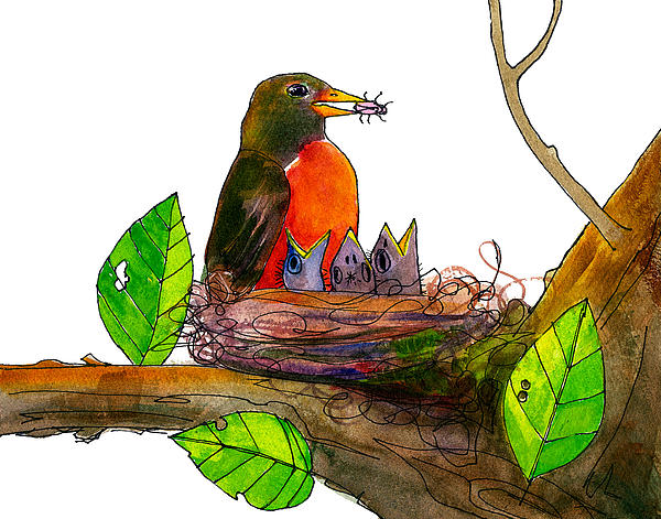 Robin Love Bug Print by Blenda Studio