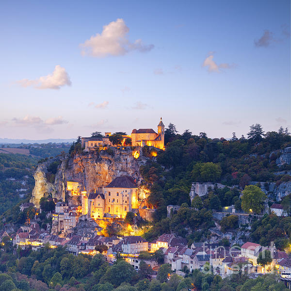 Rocamadour Midi-pyrenees France Twilight Print by Colin and Linda McKie
