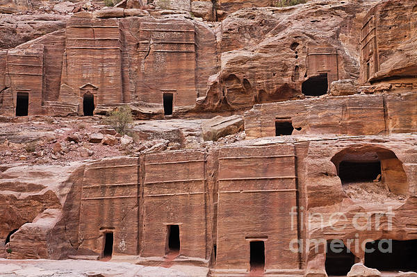 Rock Cut Tombs On The Street Of Facades In Petra Jordan Print by Robert Preston