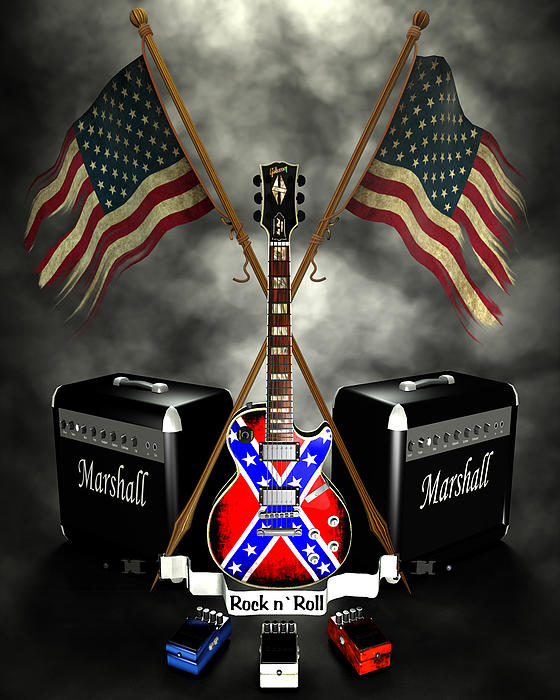 Rock N Roll Crest- Usa Print by Frederico Borges