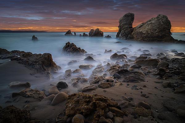 Rocky California Beach Print by Larry Marshall