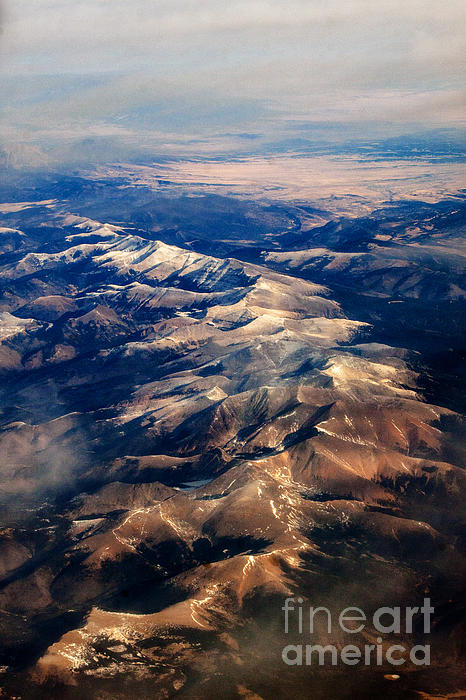 Rocky Mountain Peaks From Above Print by Darleen Stry