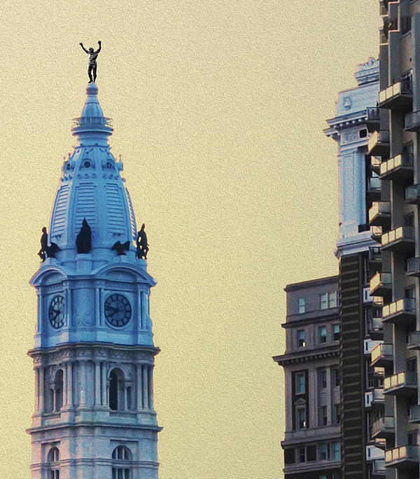 Rocky On Top Of City Hall Print by Bill Cannon