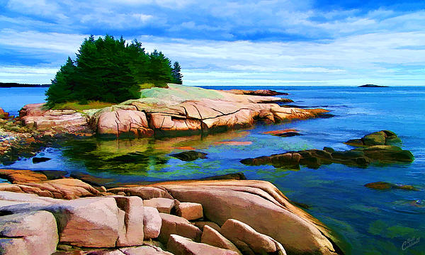 Rocky Point At Great Waas - Painterly Print by Bill Caldwell -        ABeautifulSky Photography