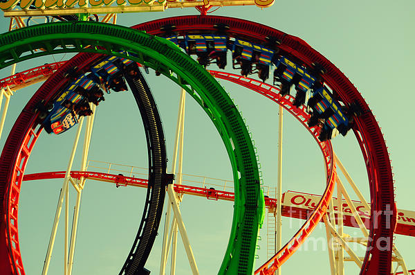 Rollercoaster Looping At The Actoberfest In Munich Print by Sabine Jacobs