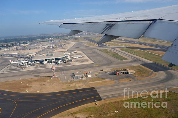 Rome Airport From An Aircraft Print by Sami Sarkis