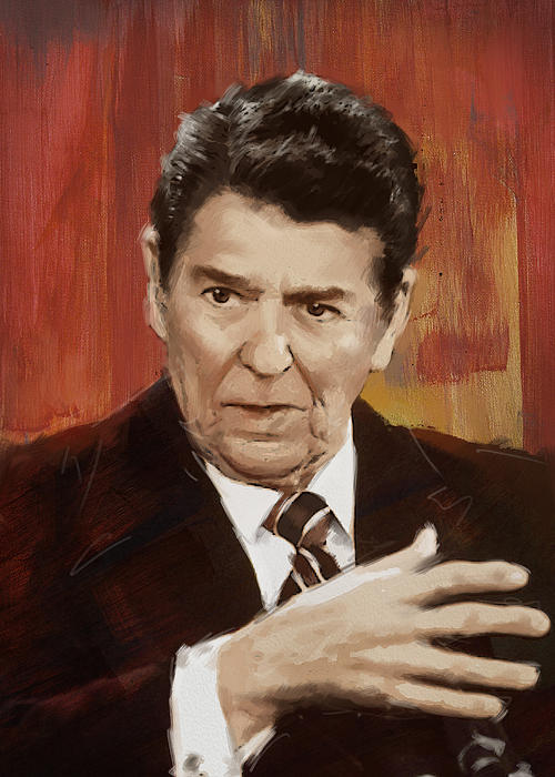 Ronald Reagan Portrait 2 Print by Corporate Art Task Force