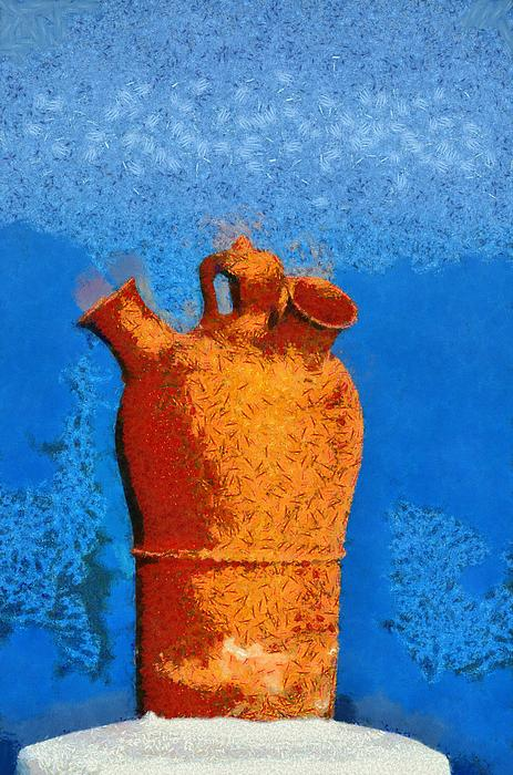 Roof Pottery In Sifnos Island Print by George Atsametakis