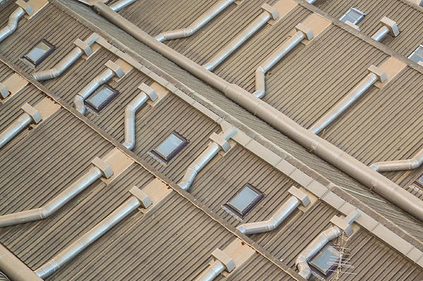 Rooftop Ducts Print by Bill Mock