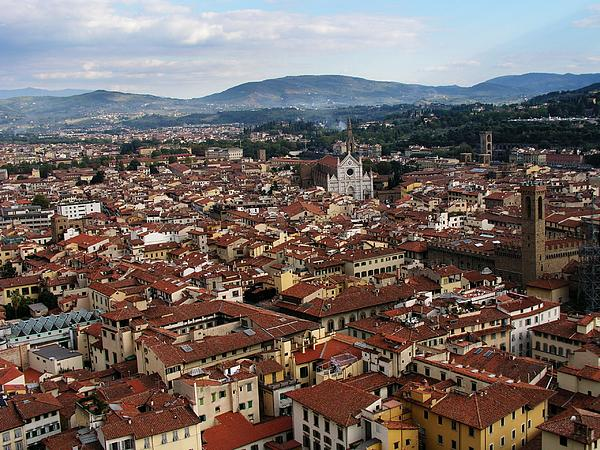 Rooftops Of Florence Print by David and Mandy