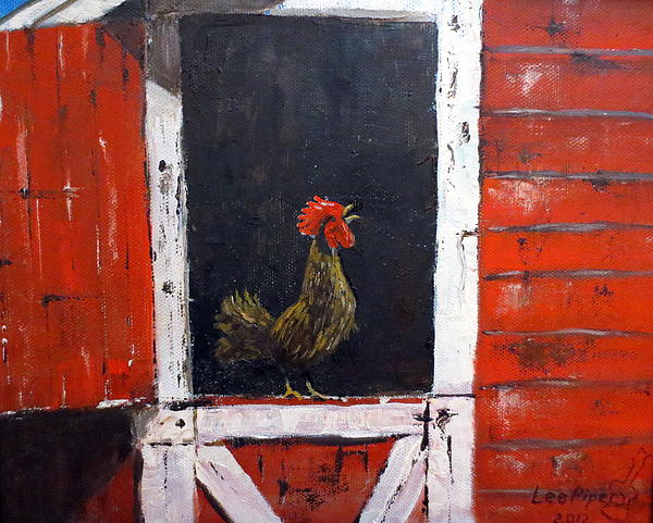 Rooster In Window Print by Lee Piper