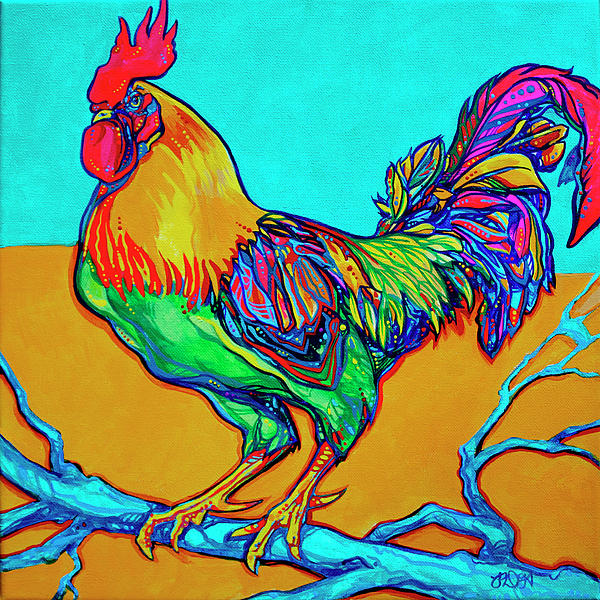 Rooster Perch Print by Derrick Higgins