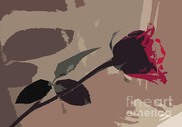 Rose In Abstract Digital Painting Print by Minding My  Visions by Adri and Ray