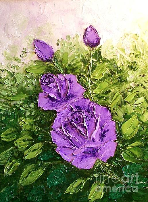 Roses In Lavender Print by Peggy Miller