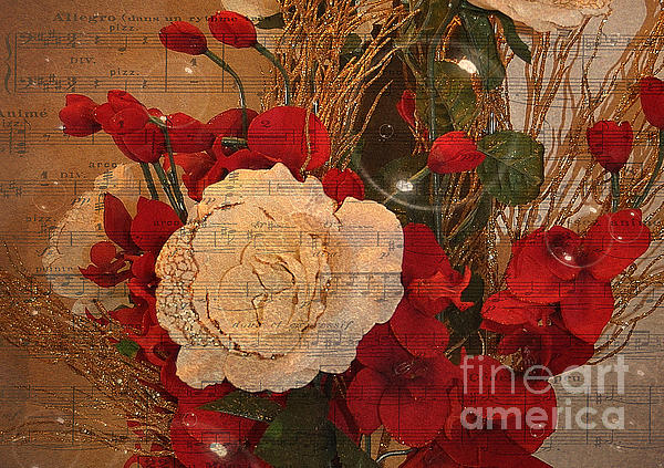 Roses Music Bubbles And Love Print by Kathy Baccari
