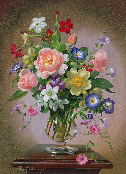 Roses Peonies And Freesias In A Glass Vase Print by Albert Williams