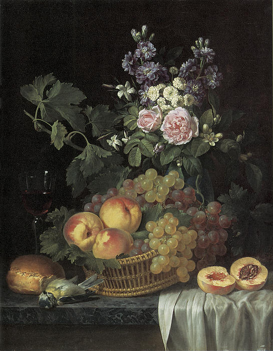 Roses Stocks Jasmine And Other Flowers In A Vase Print by Jean-pierre-xavier Bidauld