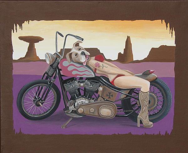 Rosie The Pitbull Pinup Print by Stuart Swartz