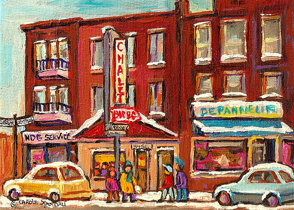 Rotisserie Le Chalet Bar B Q Sherbrooke West Montreal Winter City Scene Print by Carole Spandau