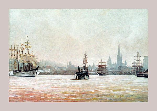 Rouen-tall Ships Print by Caroline Beaumont