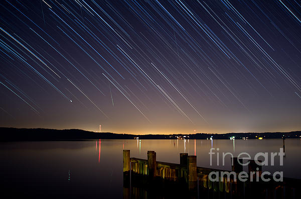 Round Bay Startrails And A Meteor Shower Print by Benjamin Reed