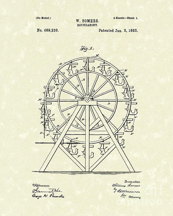 Roundabout 1893 Patent Art  Print by Prior Art Design