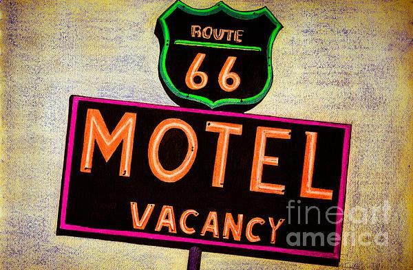 Route 66 Drawing Print by Dan Julien