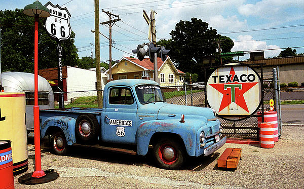 Route 66 - Gas Station With Watercolor Effect Print by Frank Romeo