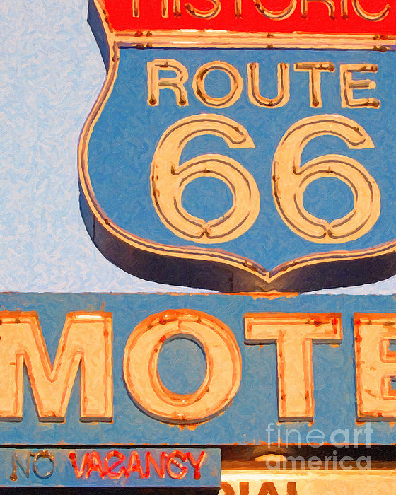Route 66 Motel Seligman Arizona Print by Wingsdomain Art and Photography