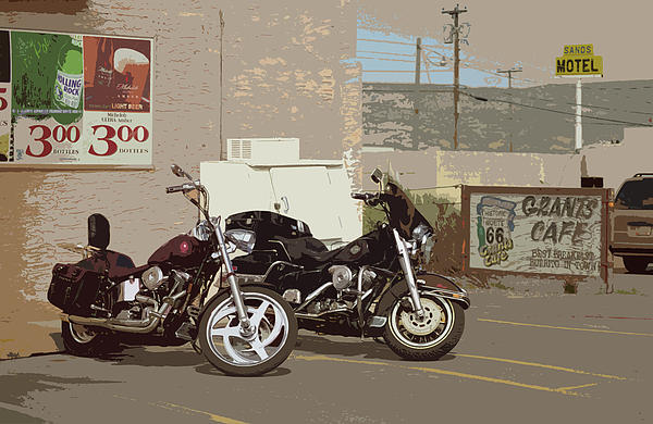 Route 66 Motorcycles With A Dry Brush Effect Print by Frank Romeo