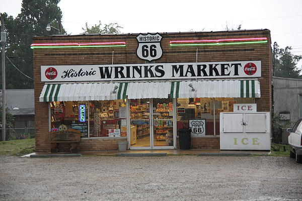 Route 66 - Wrink's Market Print by Frank Romeo